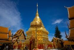 golden pagoda at Wat Phra That Doi Suthep or Phra That Doi Suthep temple in Chiang Mai, Thailand, travel destination