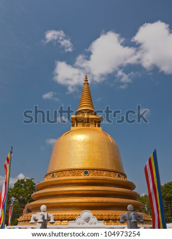 Golden pagoda in Dambulla, Sri Lanka