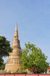 Golden Pagoda Thailand, Temple Architecture on public Temple, The architecture of Buddhism.Golden Buddhist Temple.Ancient Historical Temple in Asia