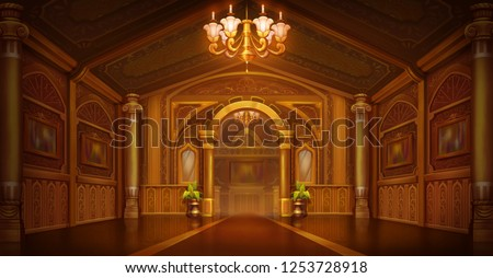 Golden Palace. Golden City. Castle Interior. Fiction Backdrop. Children Backdrop. Concept Art. Realistic Illustration. Video Game Digital CG Artwork. Nature Scenery.