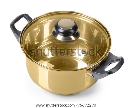 Golden pan on isolated on white background