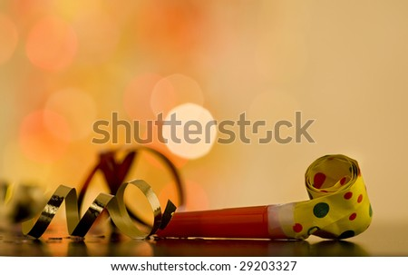golden party background,, ribbons and confetti - stock photo