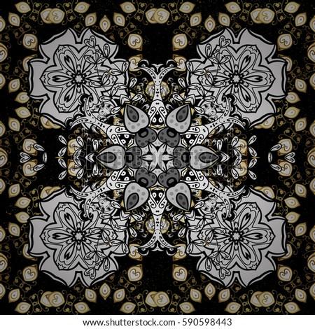 Golden pattern on black background with golden elements. Oriental style arabesques. Golden textured curls. White pattern. #590598443