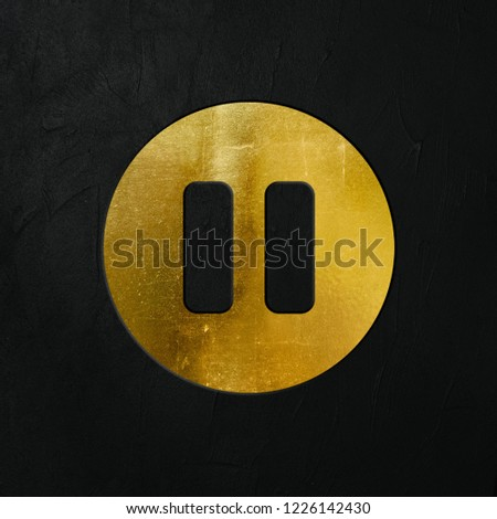 Golden Pause Icon Write On The Dark Wall Background. Golden Pause Icon. 3D İllustration.