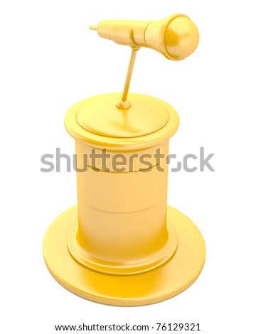 Golden pedestal with microphone isolated on white background