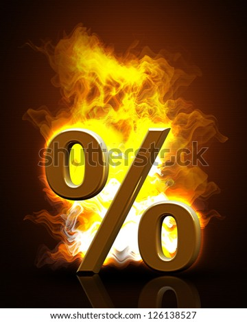 golden percent symbol in Fire Black Background. High resolution. 3D image