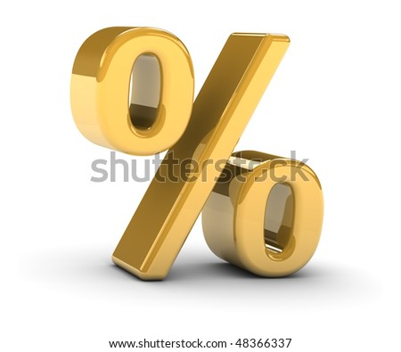 Golden percentage sign on a white background. Part of a series.