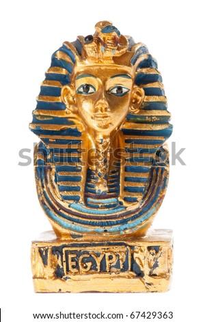 Golden pharaoh bust isolated on white Stock photo ©
