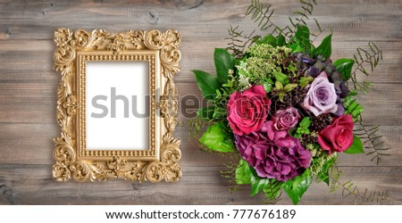 Golden picture frame and rose flowers. Vintage style mockup with space for your picture or text. Picture frame