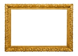 Golden picture frame isolated