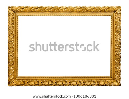 Golden picture frame isolated #1006186381