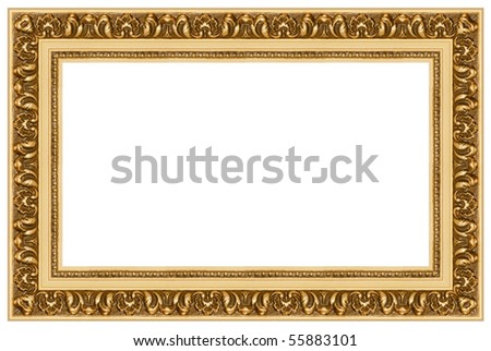 Golden picture frame. Isolated