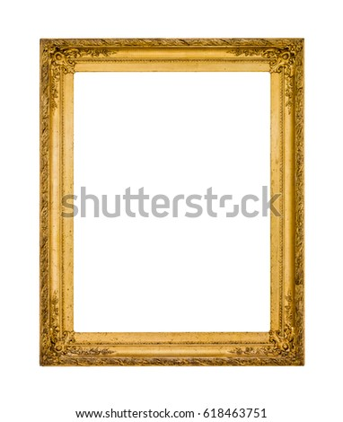golden picture frame isolated on white background #618463751