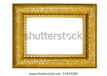 Golden Picture Frame with Ornaments - stock photo