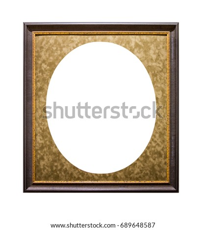 Golden Picture Frame With Oval Passepartout Isolated On White