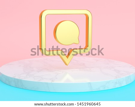 Golden pin comment Icon on the Candy Background . 3D Illustration of Golden Symbol, follower, message, Romance Icons on Pink and Blue Color With White Marble. Stock photo ©