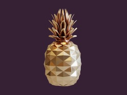 Golden pineapple isolated on dark violet background. 3d rendering.