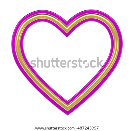 Golden-pink heart picture frame isolated on white. 3D illustration.
