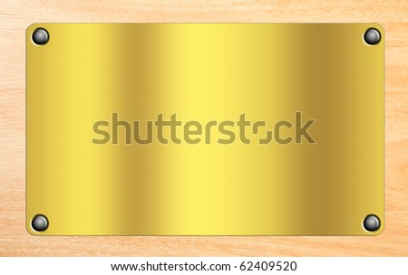 Golden plate on wooden background.Space to insert text or design. Illustration