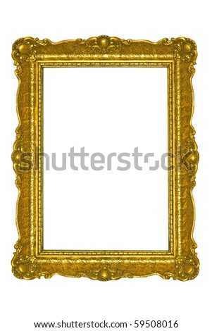 Golden plated  picture frame isolated on white.