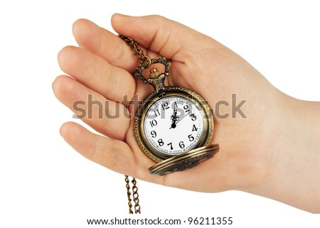 Golden pocket watch in hand on the white background