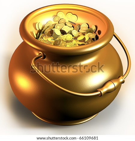 Golden pot full of gold coins 3d render