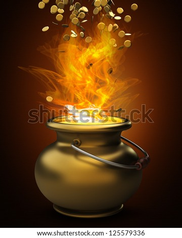 Golden pot full of gold coins in Fire high resolution 3d illustration