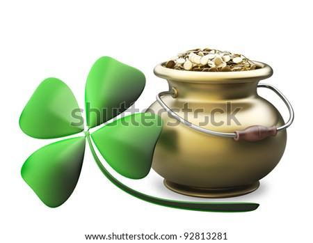 Golden pot full of gold coins isolated on white background High resolution 3D