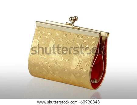 Golden pouch on white background of thai style