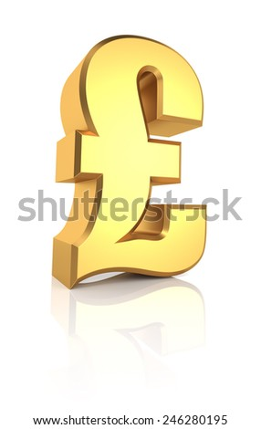 Golden Pound Currency Symbol Isolated On White Background 3d Render