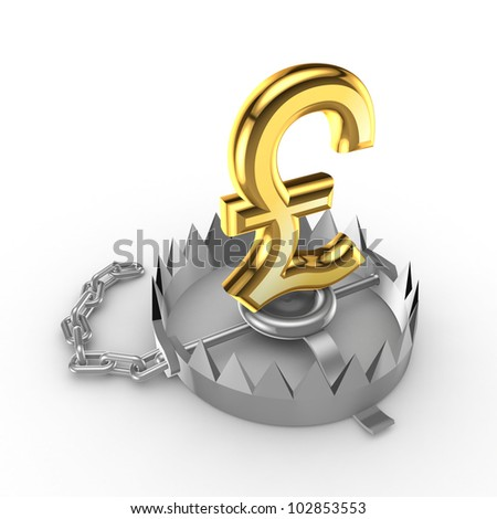 Golden pound sterling  sign on a trap.Isolated on white background.3d rendered.