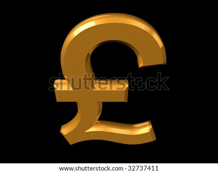 Golden Pound symbol isolated on a black (3D rendering)