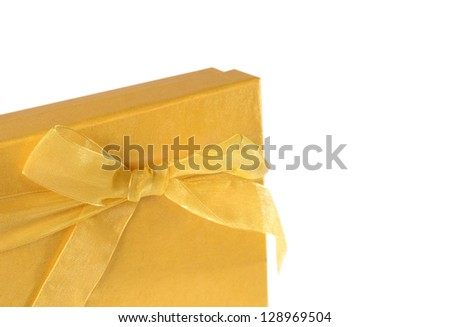 golden present box. Top view