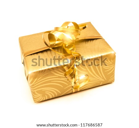 Golden present isolated on white background