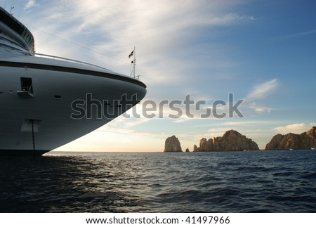 Golden Princess Cruise Ship and Land's End, Just before leaving at Sunset from Cabo San Lucas, Mexico