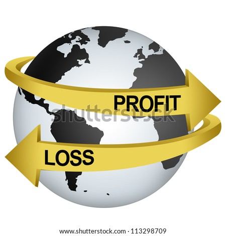 Golden Profit And Loss Arrow Around The Gray Earth For Business Direction Concept Isolate on White Background