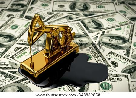 Golden Pumpjack And Spilled Oil On The Money. 3D Scene.