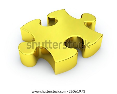Golden Puzzle Piece