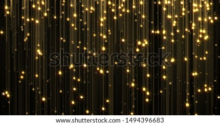 Golden rain, gold glitter particles with magic light sparks falling. Glowing glittering Christmas background, shiny sparkling and flowing light threads, luxury gold shimmer glare