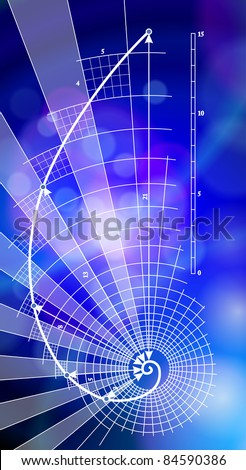 Golden Ratio (Golden Proportion) & blue ecology background. Bitmap copy my vector ID 76322236 - stock photo