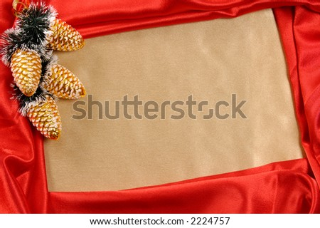 Golden-red decorative christmas frame