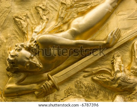 Golden relief of a knight, Boettcherstrasse, Bremen, Germany