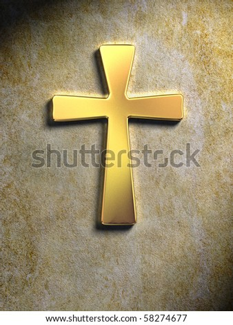Golden religious symbol on a stone surface. Digital illustration.