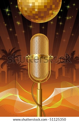 Golden retro microphone and disco ball against a night tropical city.