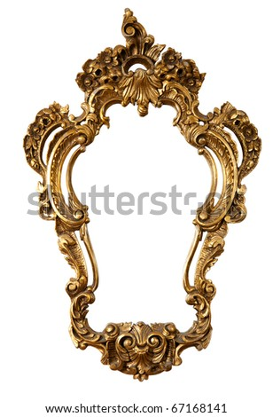 golden retro mirror frame, baroque style,  isolated on white  (clipping paths included)