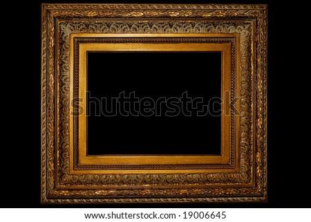 Golden retro photo frame - isolated on black background