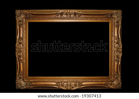 Golden retro photo frame - isolated on black background