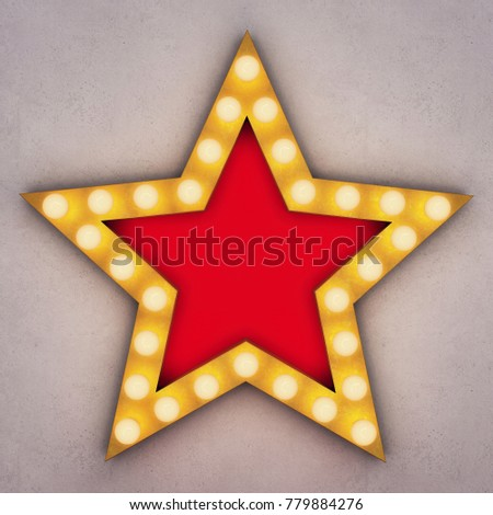 Golden retro star with glowing light bulbs on concrete background. 3D rendering #779884276