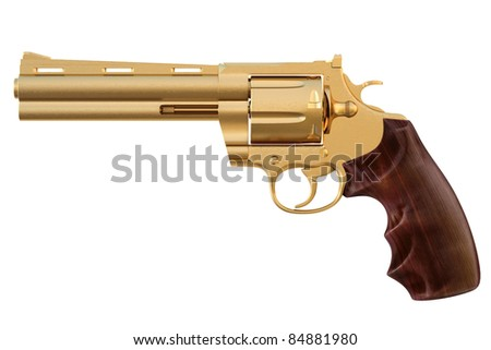 golden revolver. isolated on white.