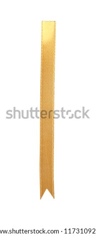 Golden ribbon bookmark isolated on white